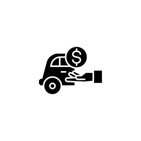 Tips black icon concept. Tips flat  vector symbol, sign, illustration. Ilustracja