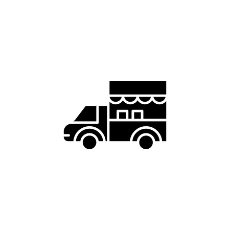 Truck black icon concept. Truck flat  vector symbol, sign, illustration. Ilustracja