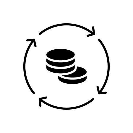 Turnover black icon concept. Turnover flat  vector symbol, sign, illustration.
