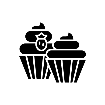 Sweet treats black icon concept. Sweet treats flat  vector symbol, sign, illustration.