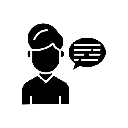 Verbal communication black icon concept. Verbal communication flat  vector symbol, sign, illustration. Illustration