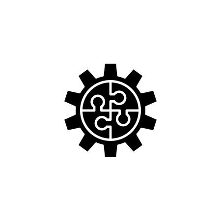Teamwork scheme black icon concept. Teamwork scheme flat  vector symbol, sign, illustration.