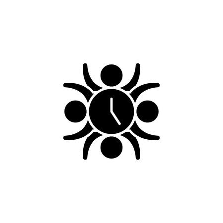 Teamwork skills black icon concept. Teamwork skills flat  vector symbol, sign, illustration.