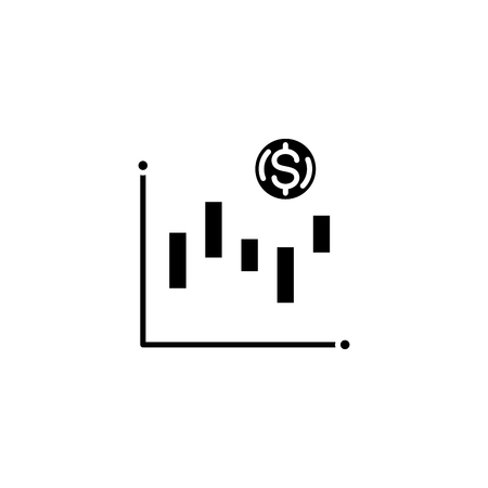 Technical analysis black icon concept. Technical analysis flat  vector symbol, sign, illustration. Ilustracja