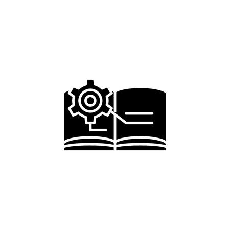 Technical documentation black icon concept. Technical documentation flat  vector symbol, sign, illustration. Illustration