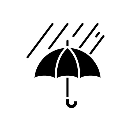 Weather protection measures black icon concept. Weather protection measures flat  vector symbol, sign, illustration.