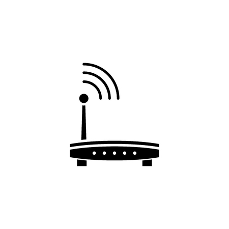 wireless router black icon concept. Illustration