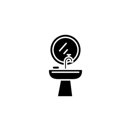 Wash basin black icon concept. Wash basin flat vector symbol, sign, illustration.
