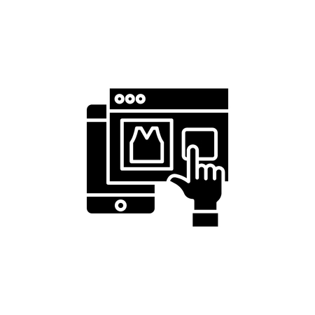 Web mobile shopping black icon concept. Web mobile shopping flat  vector symbol, sign, illustration.