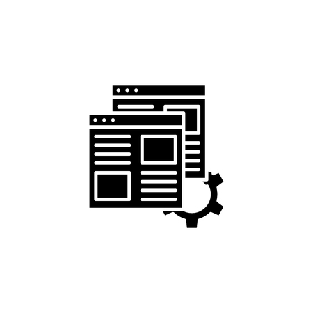 Web pages optimization black icon concept. Web pages optimization flat  vector symbol, sign, illustration. Ilustracja