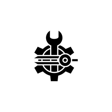 Software designer black icon concept. Software designer flat  vector symbol, sign, illustration. Illustration
