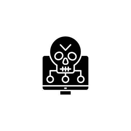 Software vulnerabilities black icon concept. Software vulnerabilities flat  vector symbol, sign, illustration. Illustration