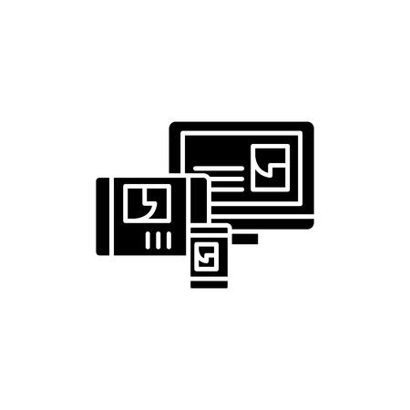 Website adaptation black icon concept. Website adaptation flat  vector symbol, sign, illustration. Illustration