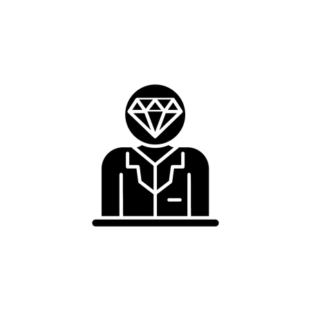 Valuable staff black icon concept. Valuable staff flat  vector symbol, sign, illustration.