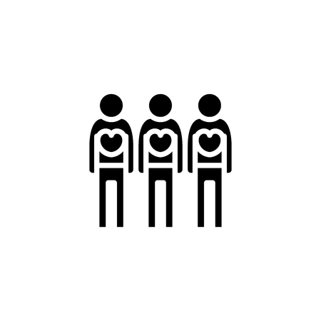 Volunteer workers black icon concept. Volunteer workers flat  vector symbol, sign, illustration. Ilustracja