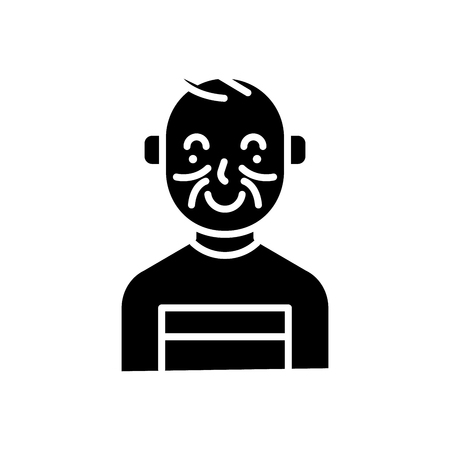 Young bully black icon concept. Young bully flat  vector symbol, sign, illustration. Illustration