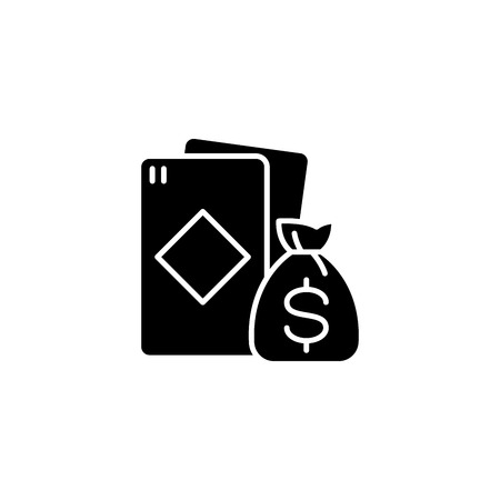 Win at cards black icon concept. Win at cards flat  vector symbol, sign, illustration. Vectores