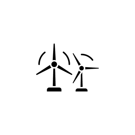 Wind farm black icon concept. Wind farm flat  vector symbol, sign, illustration. Illustration