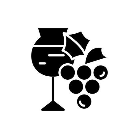 Wine making black icon concept. Wine making flat  vector symbol, sign, illustration. Illustration