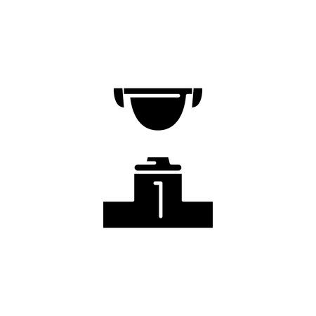 Winner black icon concept. Winner flat  vector symbol, sign, illustration.