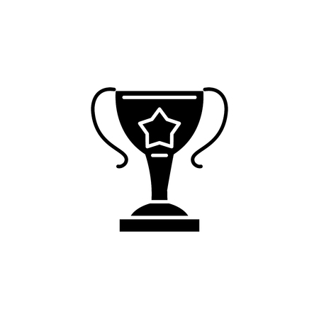 Winner cup black icon concept. Winner cup flat  vector symbol, sign, illustration. Illustration