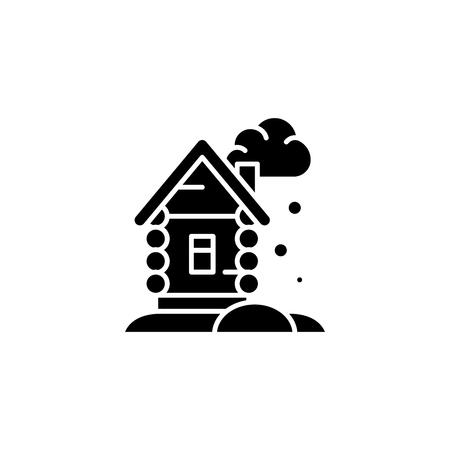 Winter cottage black icon concept. Winter cottage flat  vector symbol, sign, illustration. Banque d'images - 102744476