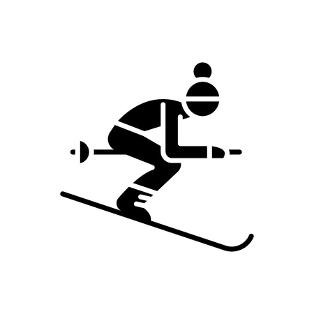 Winter sports black icon concept. Winter sports flat  vector symbol, sign, illustration. Ilustracja
