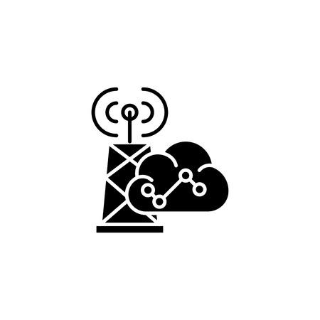 Wireless communication black icon concept. Wireless communication flat  vector symbol, sign, illustration.