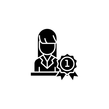 Woman leader black icon concept. Woman leader flat  vector symbol, sign, illustration.