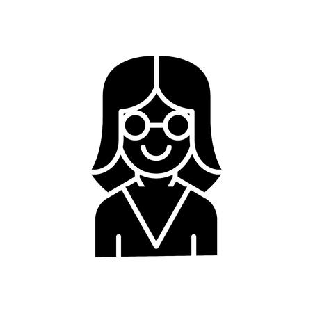 Woman scientist black icon concept. Woman scientist flat  vector symbol, sign, illustration. Illustration