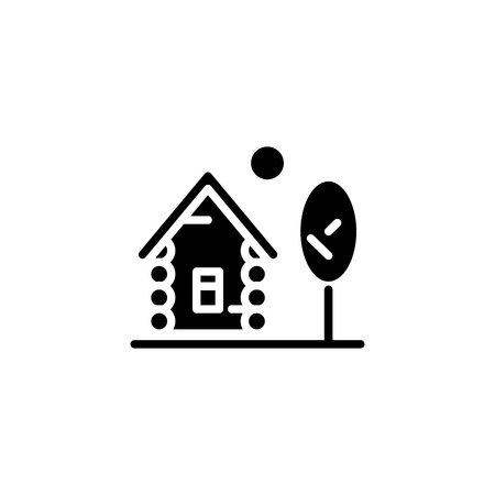Wood house black icon concept. Wood house flat  vector symbol, sign, illustration.