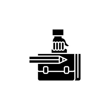 Work bag black icon concept. Work bag flat  vector symbol, sign, illustration. Illustration