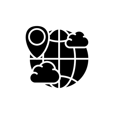 World weather forecast black icon concept. World weather forecast flat  vector symbol, sign, illustration. 矢量图像