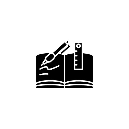 Writing book black icon concept. Writing book flat  vector symbol, sign, illustration. Illustration