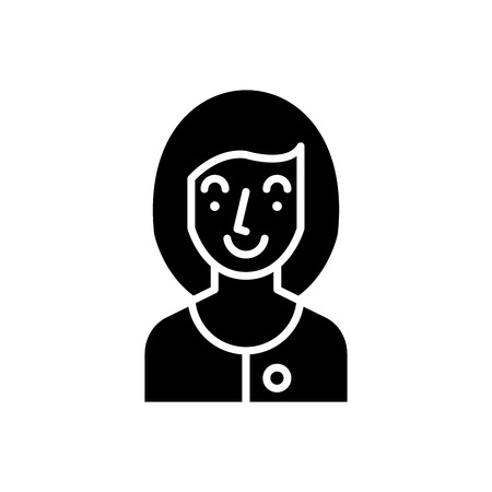 Young woman black icon concept. Young woman flat  vector symbol, sign, illustration.