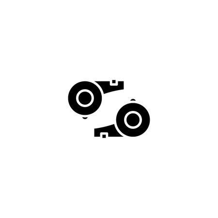 Referees whistle black icon concept. Referees whistle flat  vector symbol, sign, illustration.