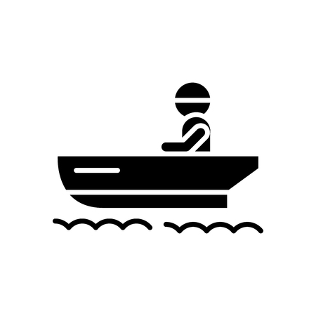Ships boat black icon concept. Ships boat flat  vector symbol, sign, illustration.