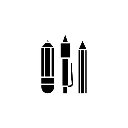 Stationery, pen, pencil black icon concept. Stationery, pen, pencil flat  vector symbol, sign, illustration.