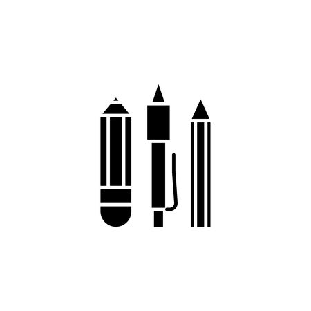 Stationery, pen, pencil black icon concept. Stationery, pen, pencil flat  vector symbol, sign, illustration.
