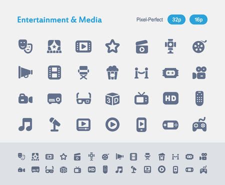 Entertainment & Media - Ants Icons Illustration