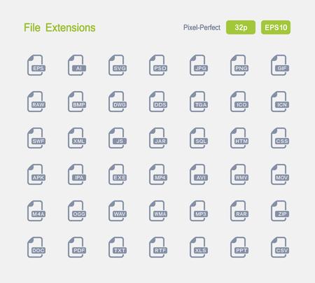 File Extensions - Granite Icons Illustration