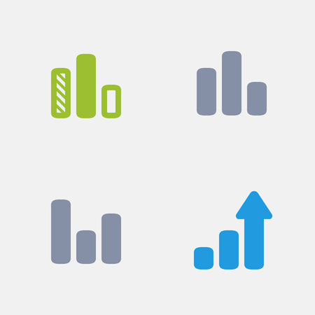 Column graphs in granite icons Illustration