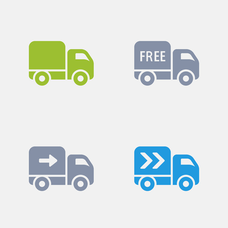 Delivery trucks in granite icons.