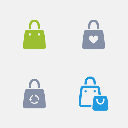 Shopping bags in granite icons.