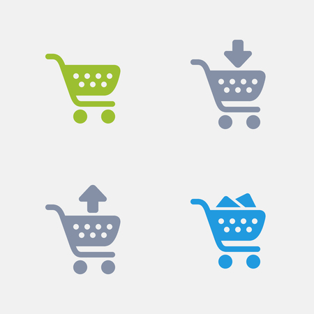 Winkelwagentjes in graniet pictogrammen. Stock Illustratie