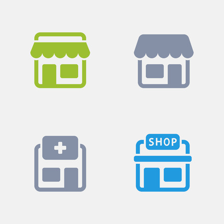 Stores in granite icons. Illustration