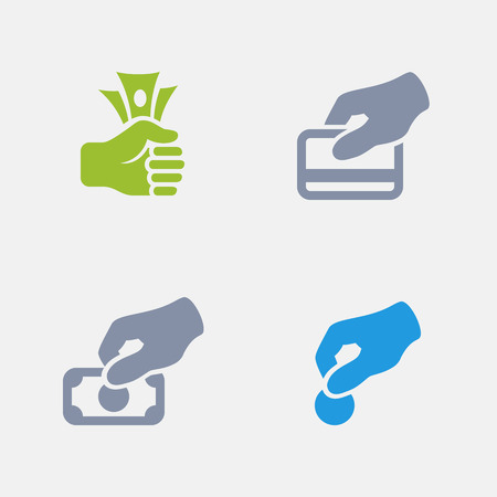 Payment options in granite icons. 向量圖像