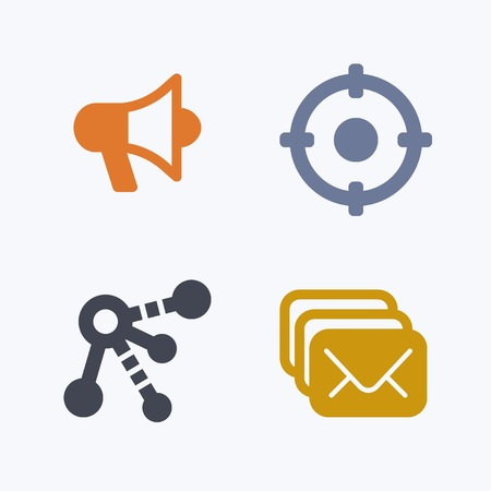 Target, megaphone, e-mail icon vector illustration.
