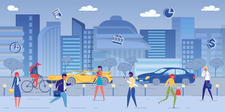 Big City Street with Road Traffic Flat Cartoon Vector Illustration. Business people Life, Walking. Busy Office Workers Running with Briefcases in Hands, Hurrying to Work. High Buildings on Background.