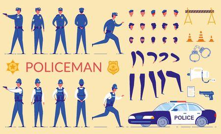 Policeman Character Constructor Flat Cartoon Vector Illustration. Security Bodyguard with Shotgun in Various Positions. Cop Officer Wearing Uniform. Car Vehicle, Megaphone, Handcuffs. Head, leg.